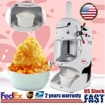350w Electric Shaved Ice Crusher Cool Ice Cone Maker Snow Machine Commercial Us