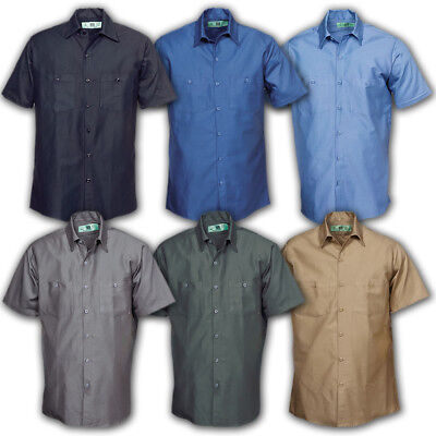 Work Shirts Industrial Uniform Mechanic 2 Pockets Short Sleeve REED 100% Cotton