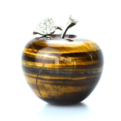 2 Tiger Eye Stone Natural Crystal Apple Paperweight Figurine Carved Gift Decor