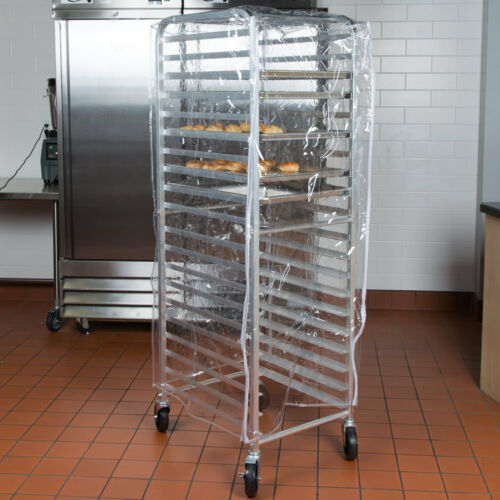 "63"" Clear 8 Mil Full-Size Plastic Bakery Bun Pan Rack Cover with 3 Zippers"