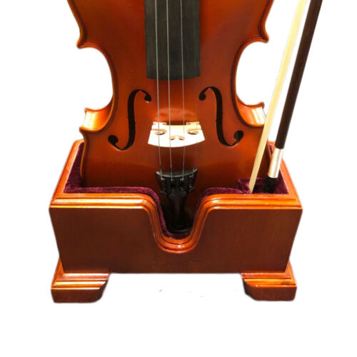 Paititi Violin Stand Solid Wood Stand w Bow Holder Velvet Plush Cushions 4/4