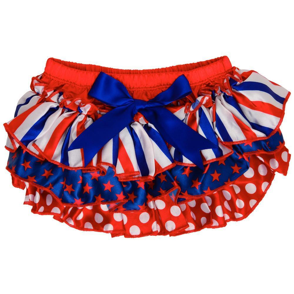 NWT JuDanzy Baby Girls Patriotic 4th of July Satin Ruffle Bl