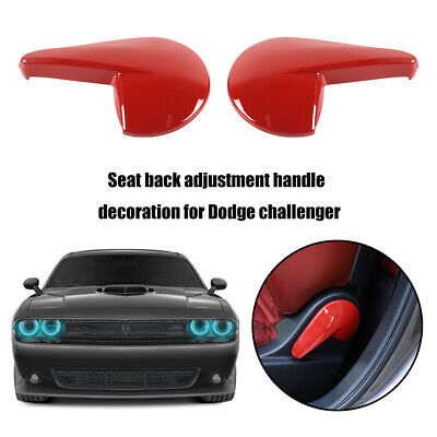 Red ABS Adjust Seat Handle Button Cover Trim 2PCS For Dodge Challenger 2010-2019