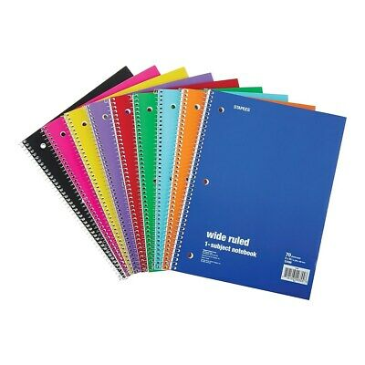 Staples 1-subject Notebook 8 X 10.5 Wide Rule 70 Sh. Assorted 27497m 321463
