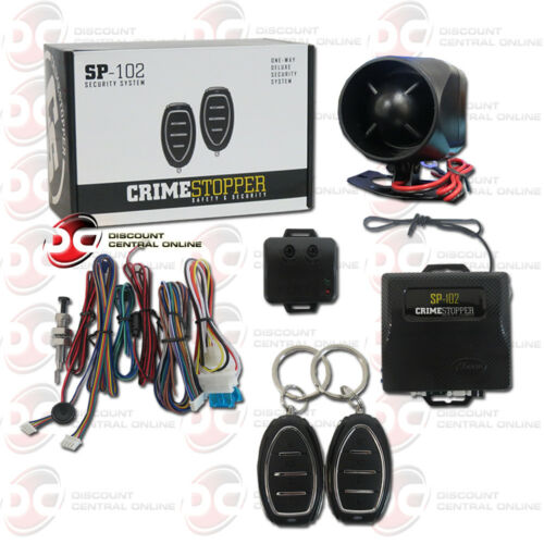 NEW CRIMESTOPPER SP-102 1-WAY CAR ALARM SECURITY SYSTEM WITH KEYLESS ENTRY