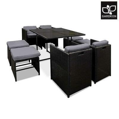 Garden Furniture - Gardeon Outdoor Dining Set Patio Furniture Wicker Chairs And Table Garden 9PCS