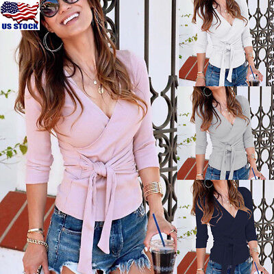 Women's Sexy Wrap V Neck Long Sleeve Knitted Tops Slim Fit Sweater Jumper Blouse ()