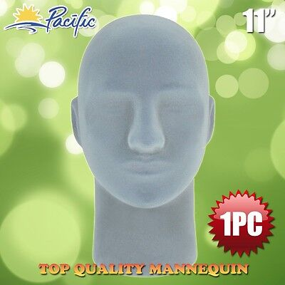 Male Styrofoam Foam Grey Velvet Mannequin Manikin Head Display Wig Hat Glasses