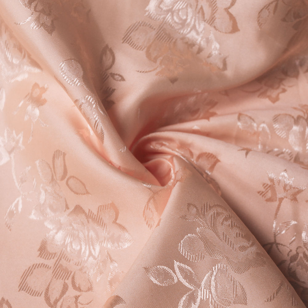34 Colors Kayla Floral Jacquard Brocade Satin Fabric by the Yard - 10004 Peach