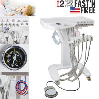 Portable Mobile Dental Delivery Unit System Cart Treatment Compressor 4hole Usa