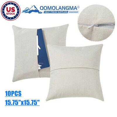10pcs 15.75 Cushion Cover Pocket Pillow Case Cover Linen Home Sofa Throw Decor