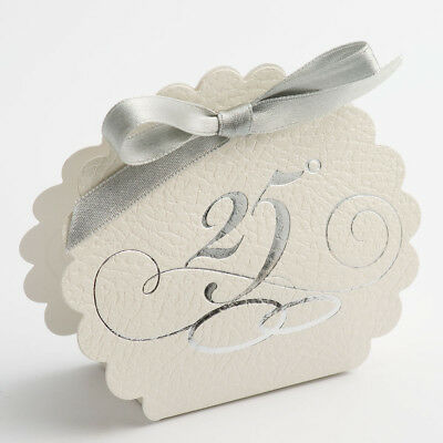 Scalloped Edge Favours - White Pelle 25th Anniversary Boxes - Pack of 10 25th Anniversary Favor Boxes