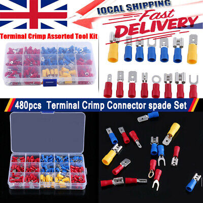 480pc Electrical Cable Wire Connectors Assorted Insulated Crimp Terminals Spade