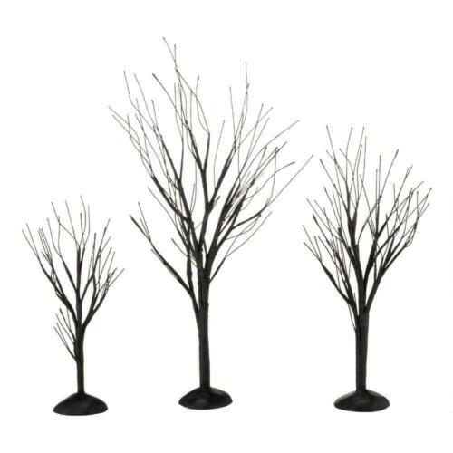 Dept 56 BLACK BARE BRANCH TREES SET/3 Halloween Village 4033851 DEALER STOCK