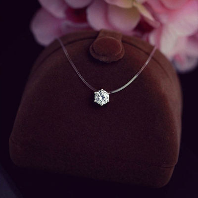Fashion Crystal Necklace Invisible Line Zircon Clavicle Chain Women Accessories Fashion Jewelry