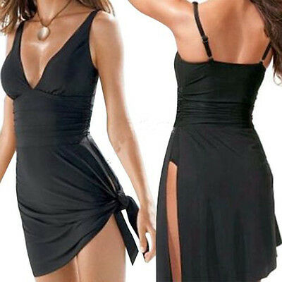 Womens Push-up One-piece Stylish Swim Dress Swimsuit Bikini Swimwear Tankini New