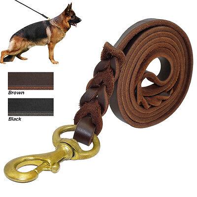 Genuine Leather Pet Dog Training Leash Braided Rope Best for German Shepherd