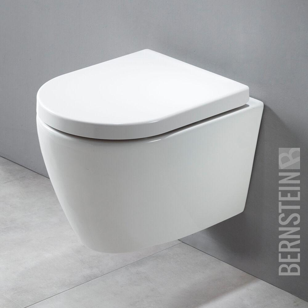 BERNSTEIN Design Wand Hänge WC B8030 Weiß/Schwarz  inkl. Softclose Deckel