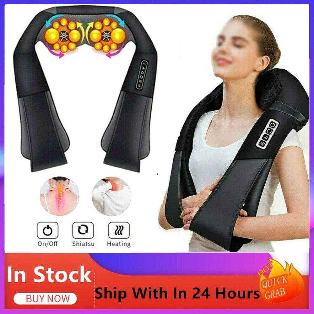 Elektrisch Nackenmassage Massage Rücken Shiatsu Massagegerät mit Wärmefunktion