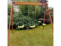 Plum Colobus Double Swing with Glider Wooden Garden Swing Set RRP £299.99 BRAND NEW BOXED