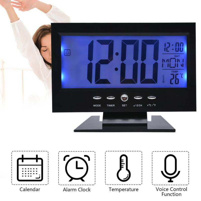Digital Tisch Wecker Tischuhr LCD Funkwecker Tischwecker Alarmwecker mitKalender