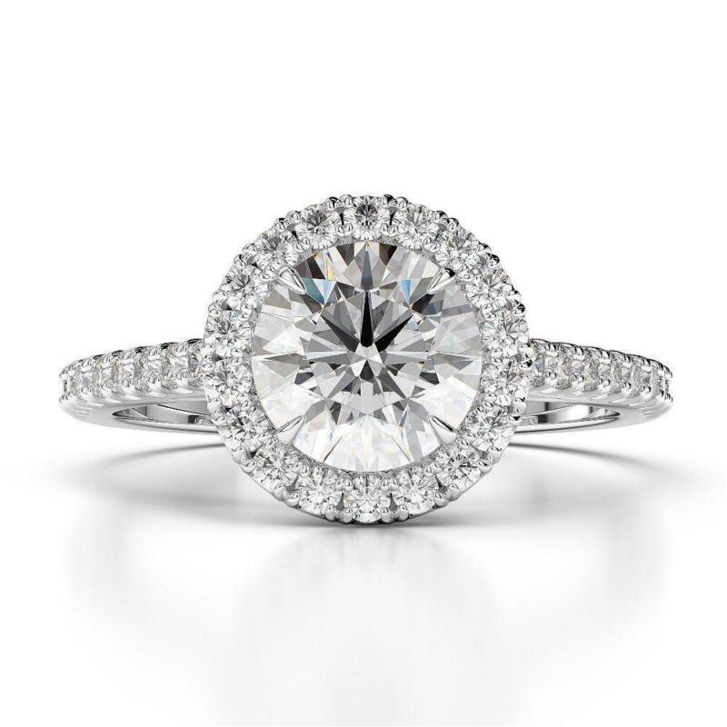 1.80 Ct Round Cut D Vs2 Halo Diamond Solitaire Engagement Ring 14k White Gold