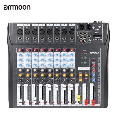 6 Channels Mic Audio Mixer Mixing Console 3-band EQ USB 48V