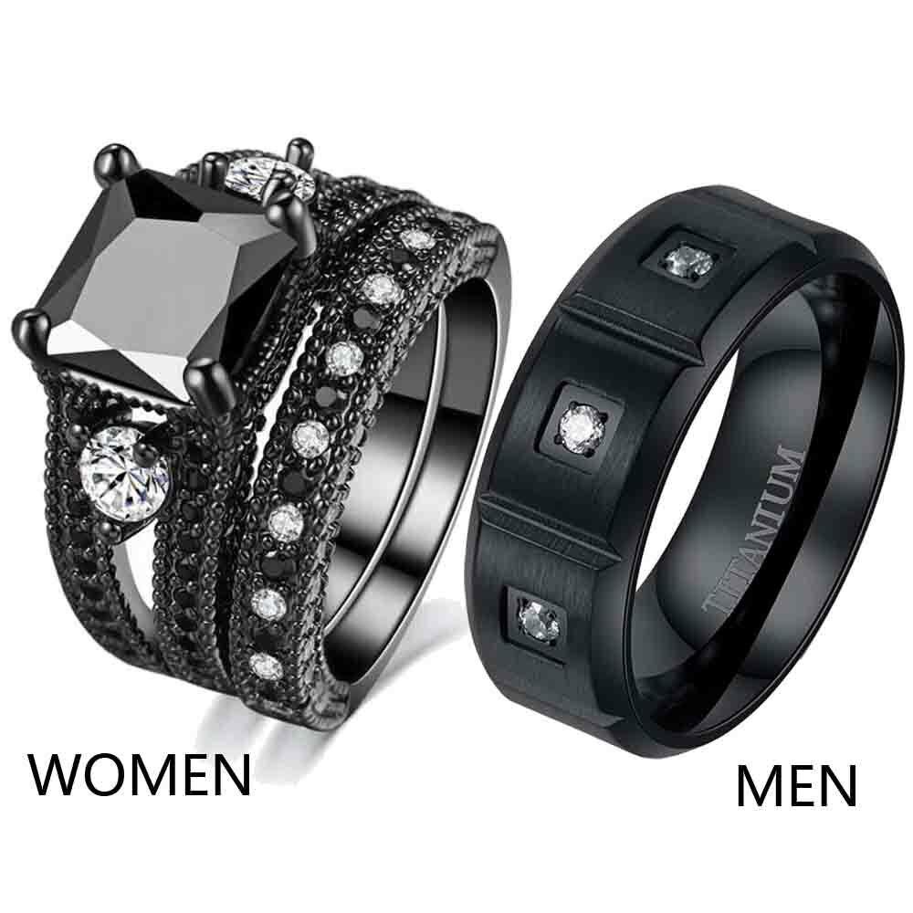 Couple Rings Titanium Steel Mens Ring Band Black CZ Women's