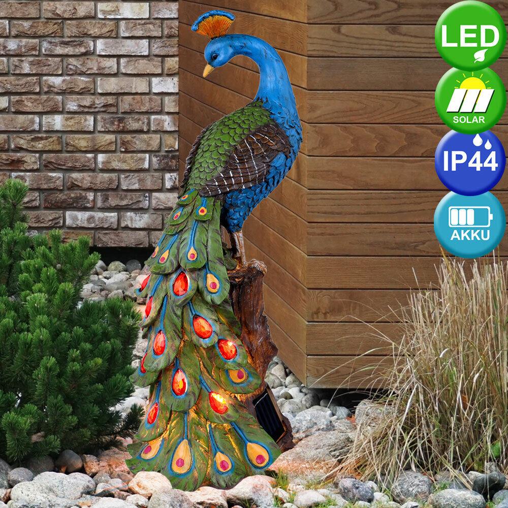 LED Außen SOLAR Pfau Steh Leuchte Garten Weg Terrassen Deko Tier Figur Hof Lampe