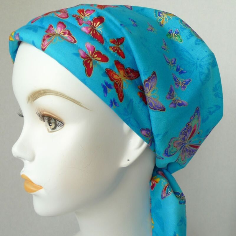 Elegant Blue Butterfly Chemo Cancer Hat Alopecia Hair loss Cotton Scarf Turban