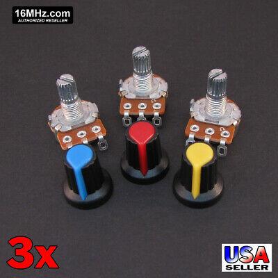 3x 5k Ohm Linear Taper Solder Lug Potentiometer B1k Black Knob Usa 3pcs U63