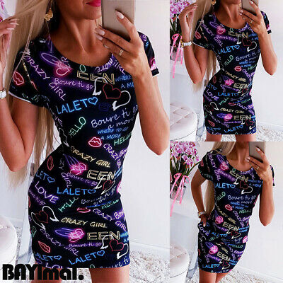 Womens Short Sleeve Round Neck Mini Shirt Dress Ladies Summer Casual Long Blouse