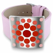 Amour Stainless Steel Red Epoxy and Pink Leather 7-inch Bracelet