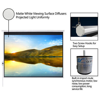 100169 Electric Projection Screen Projector Home Movie Matte White