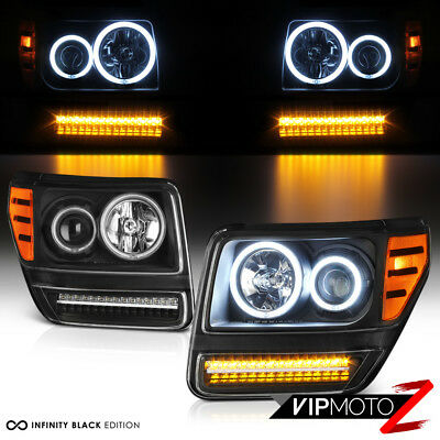 """Bright CCFL Halo Ring"" 2007-2011 Dodge Nitro Projector LED DRL Headlights Pair"