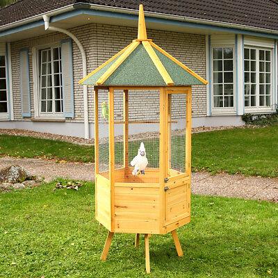 Vogelvoliere Voliere Vogelkäfig XXL 6-Eck Vogelhaus Vogel Käfig Haus Holz