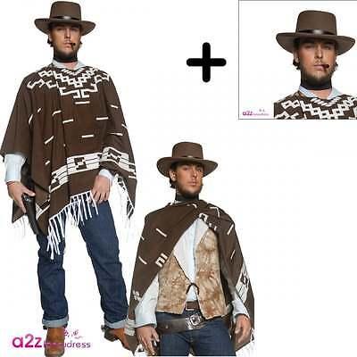 Herren Western Gunman Clint Eastwood Wild West Cowboy Fancy Dress KOSTÜM + HAT ()