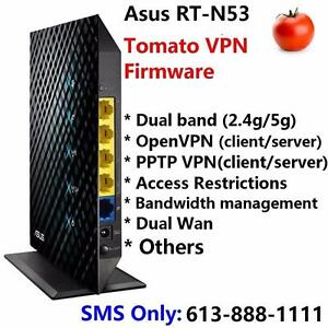 Asus RT-N53 Dual Band Wireless N600 Router with Tomato VPN firmware pre-loaded, OpenVPN and PPTP VPN compatible