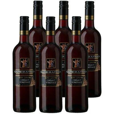 6 Flaschen Game of Africa Cinsaut/Pinotage 0,75l 14% vol Rotwein Südafrika