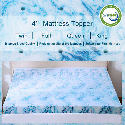 Gel Memory Foam Mattress Topper 2.5/3/4 Inch Lavender Blue Swirl Queen King (Blue Mattress)