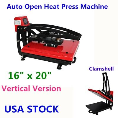 Usa-16 X 20 Auto Open T-shirt Heat Press Machine Clamshell Vertical Version