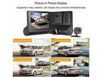 "KKMOON 4"" 1080P Three Lens Car DVR Dash Cam Camera Camcorder Record Two Cameras At A Time"