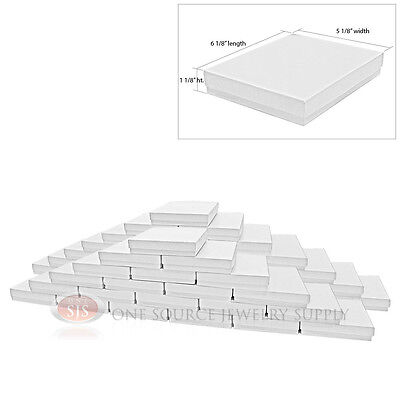 50 White Swirl Cardboard Cotton Filled Jewelry Gift Boxes 6 18 X 5 18 X 1 18