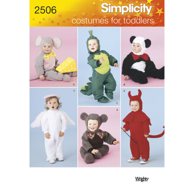 Simplicity SEWING PATTERN 2506 Toddlers Costumes-Devil,Angel,Panda,Mouse,Dino