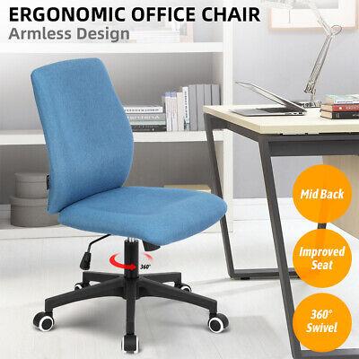 Mid Back Armless Office Task Chair Bar Stool Swivel Adjustable Home Office Gray