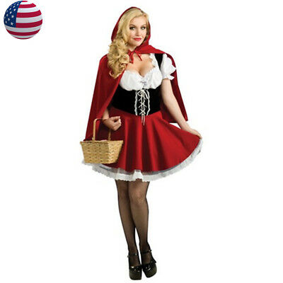 US STOCK Adult Little Red Riding Hood Costume Halloween Christmas Fancy - Little Red Riding Hood Costume Adults