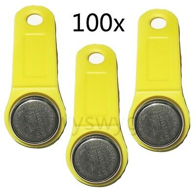100P Yellow DS1990A-F5 TM Card iButton Tag wall-mounted holder of Access control