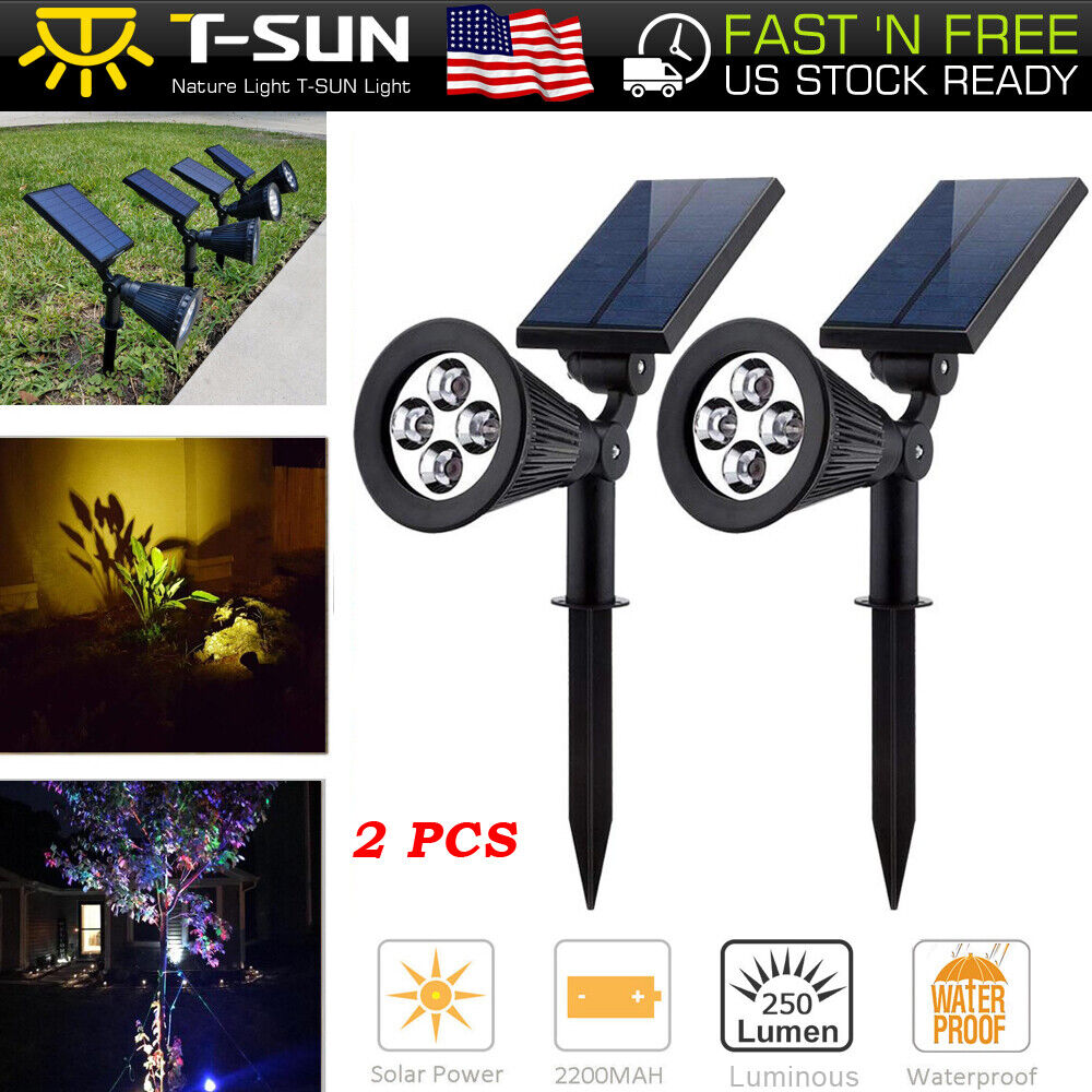 2 Pack Solar Powered Spotlight Outdoor Garden Lawn Landscape