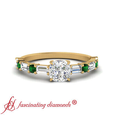 1.25 Carat Cushion Cut Diamond And Emerald Engagement Ring In 18K Yellow Gold
