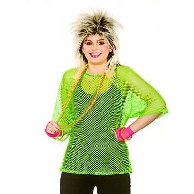 80'S MESH TOP - NEON GREEN PLUS SIZE 1980S FANCY DRESS